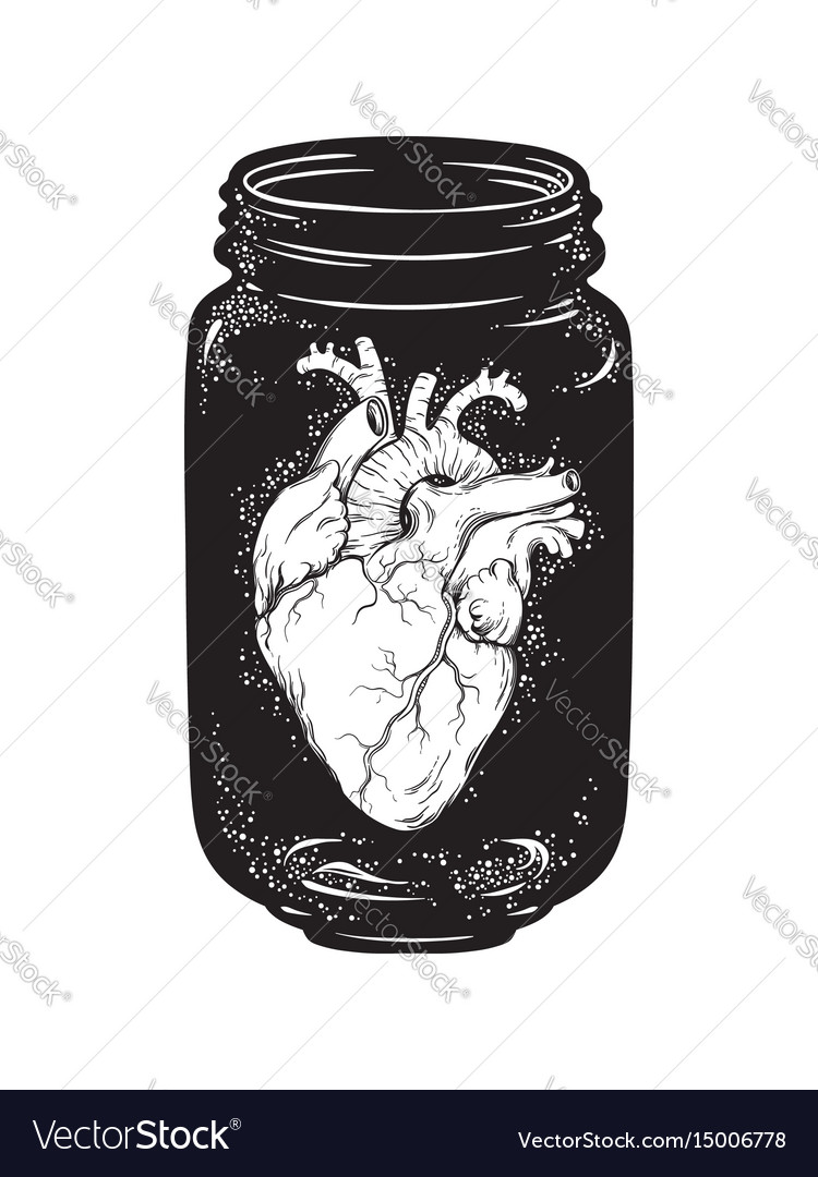 Human heart in glass jar isolated print design