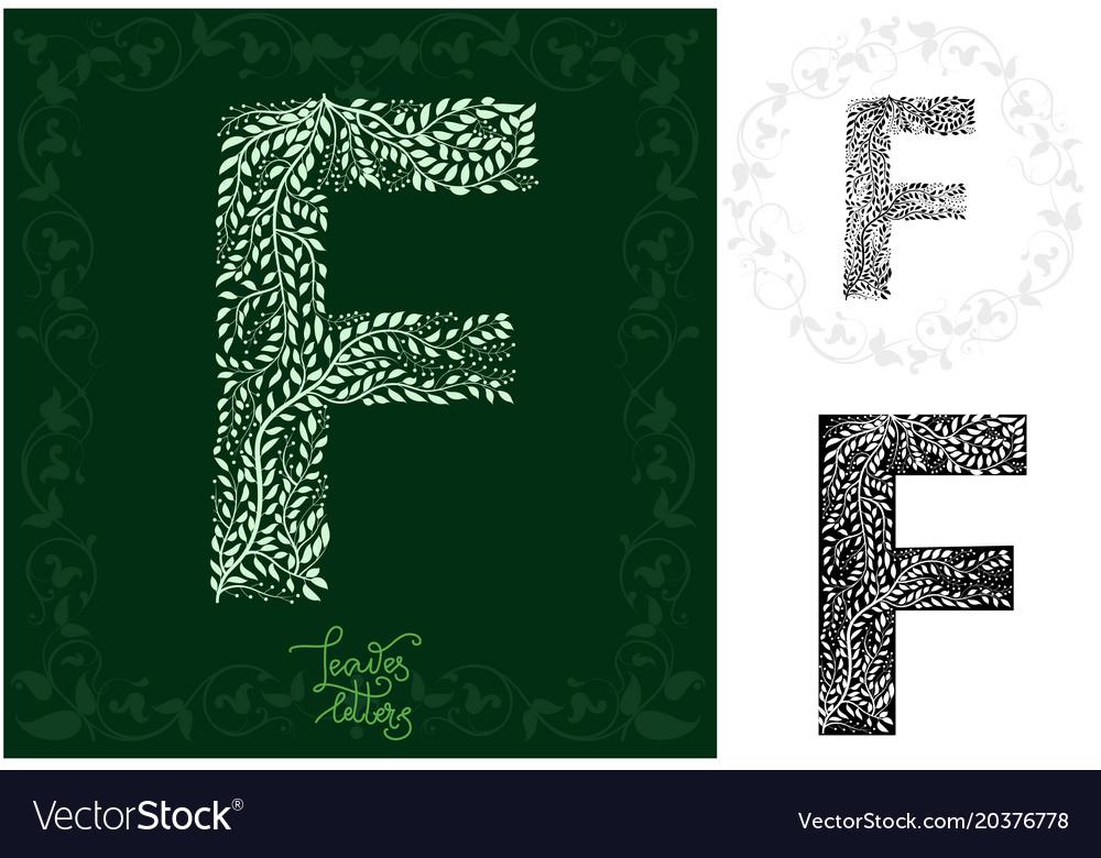 Leaves alphabet letter f