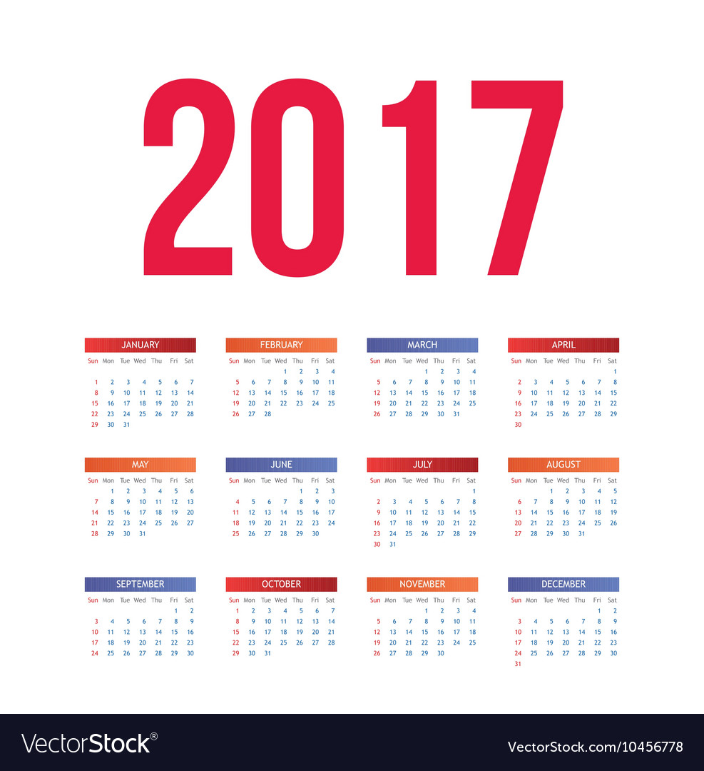 Nice and simple colorful 2017 calendar