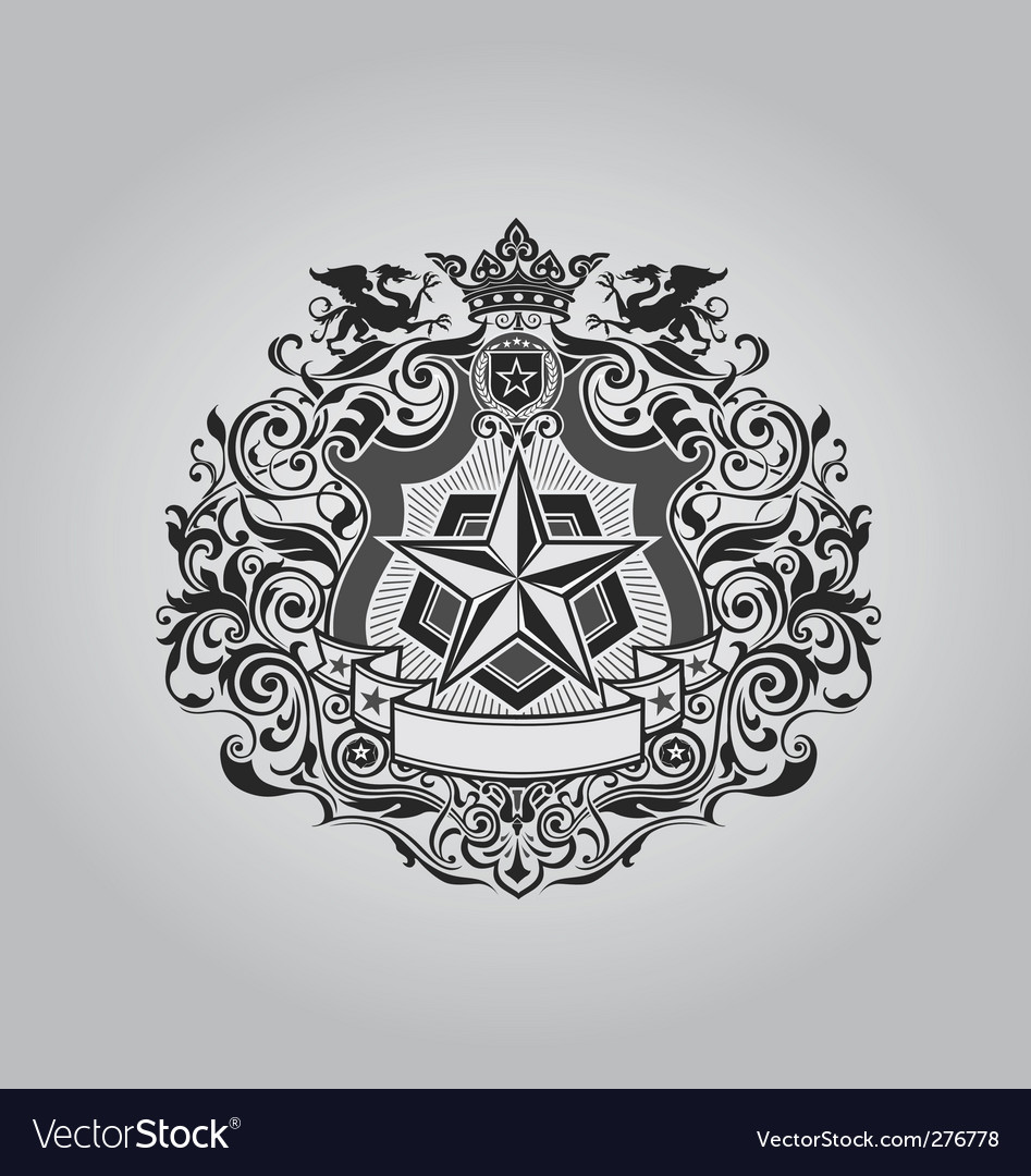 Ornate shield design vector image