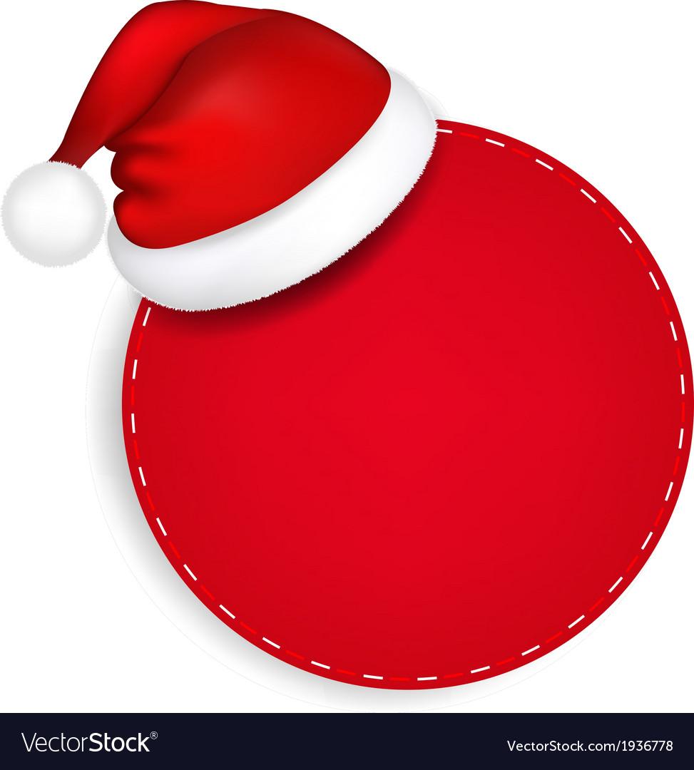 red speech bubble with santa hat royalty free vector image rh vectorstock com xmas cap vector santa hat vector black and white