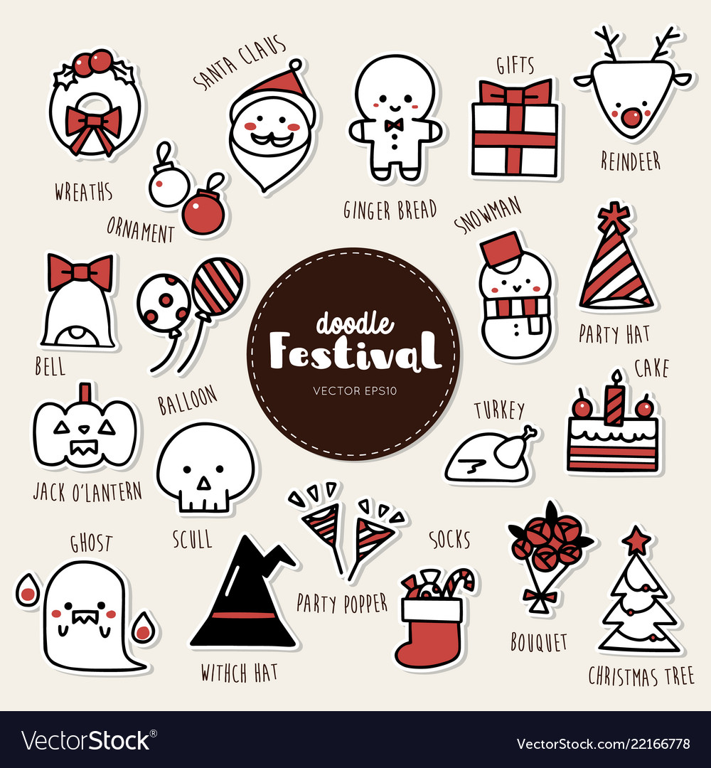 Set of festival icons doodle