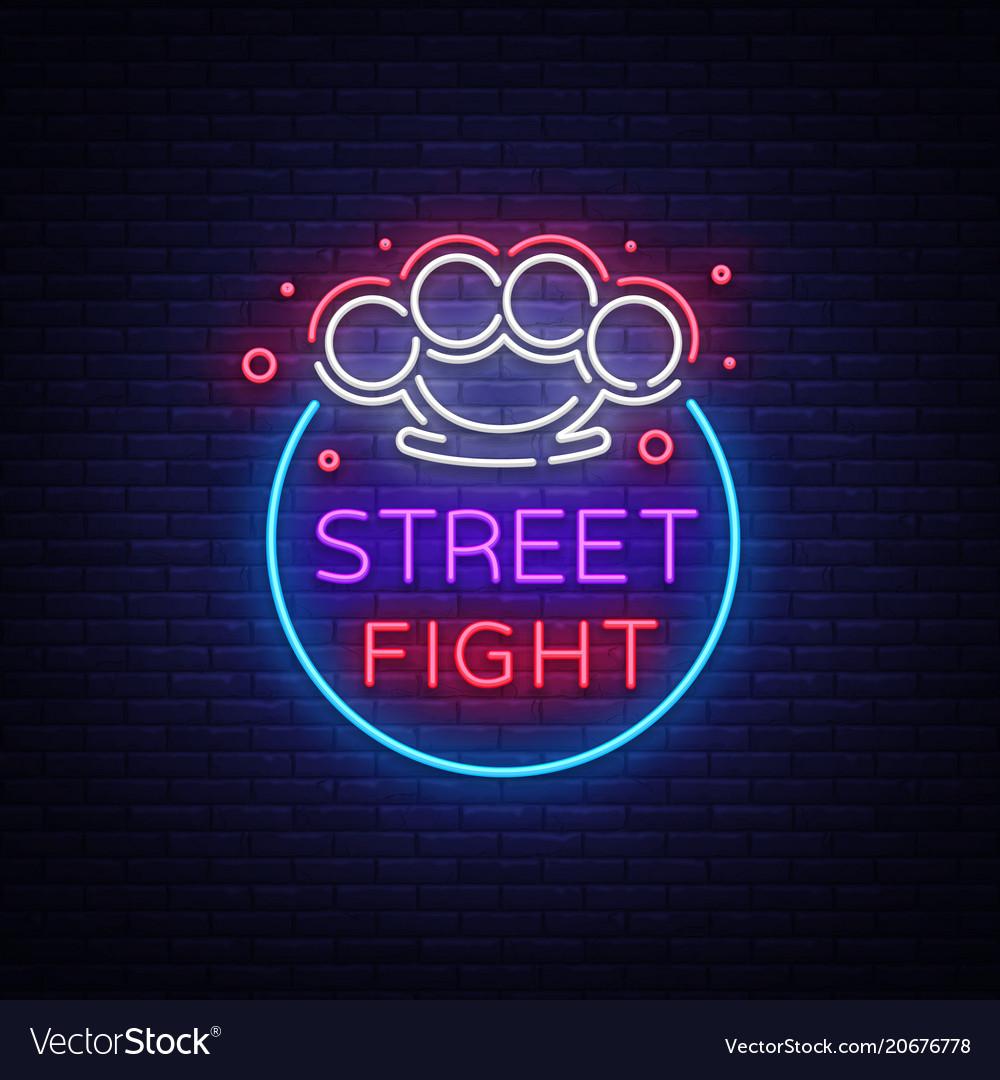 Street fight logo in neon style fight club neon