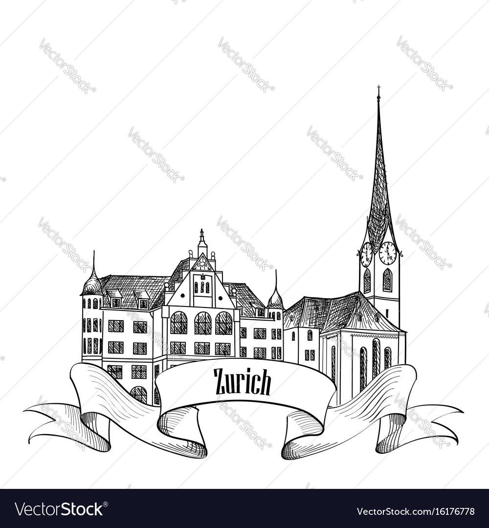 Zurich city switzerland travel landmark label