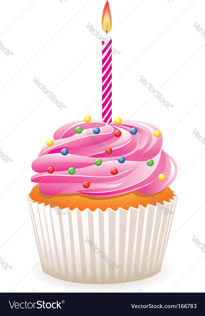 Fantastic Birthday Cupcake Royalty Free Vector Image Vectorstock Personalised Birthday Cards Cominlily Jamesorg