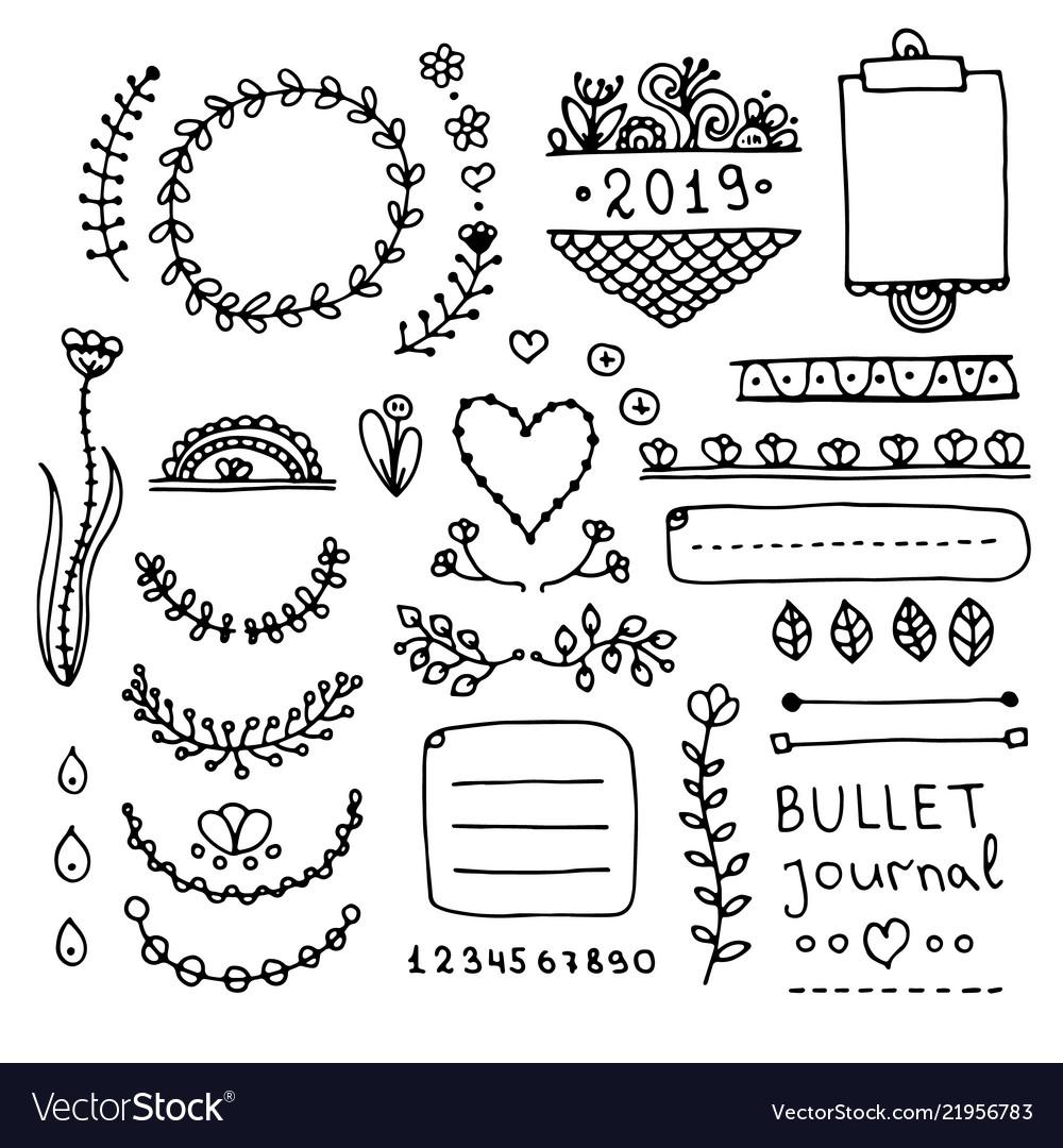 Bullet Journal Doodle Set Royalty Free Vector Image