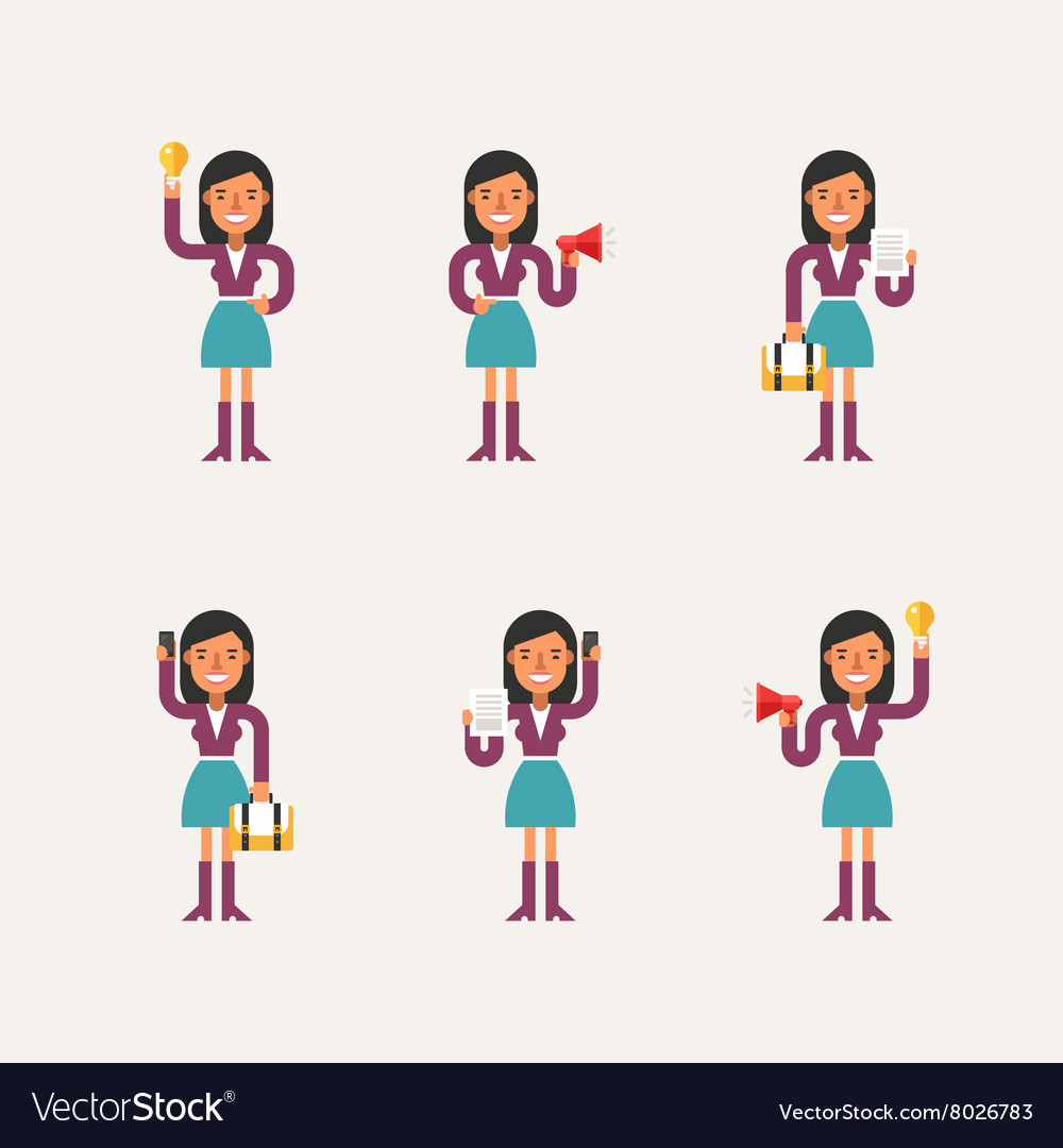Cartoon Character Set of Businesswoman in Various