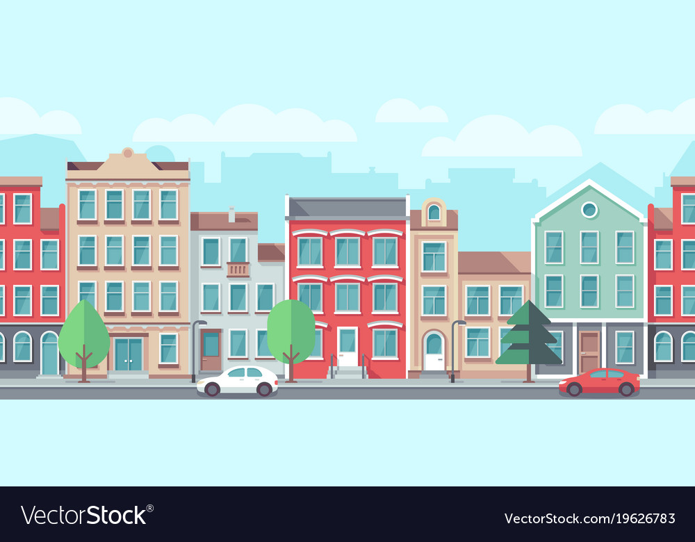 Cityscape with old apartment houses