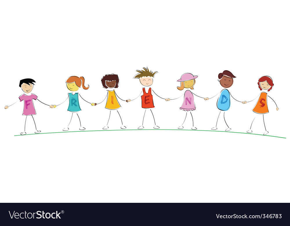 Friends holding hands vector image