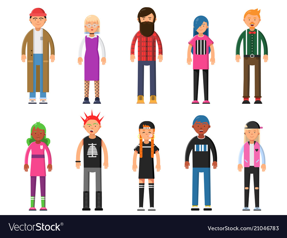 Funky young people hipsters characters male and