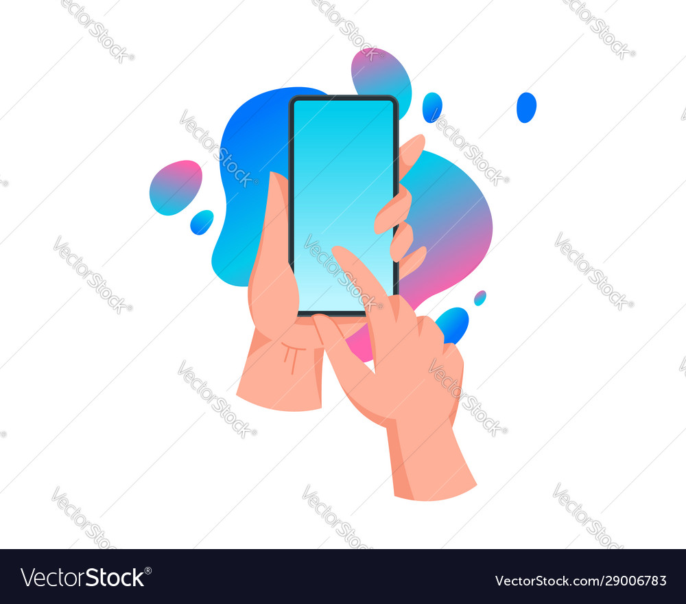 Hands holding mobile phone touch screen