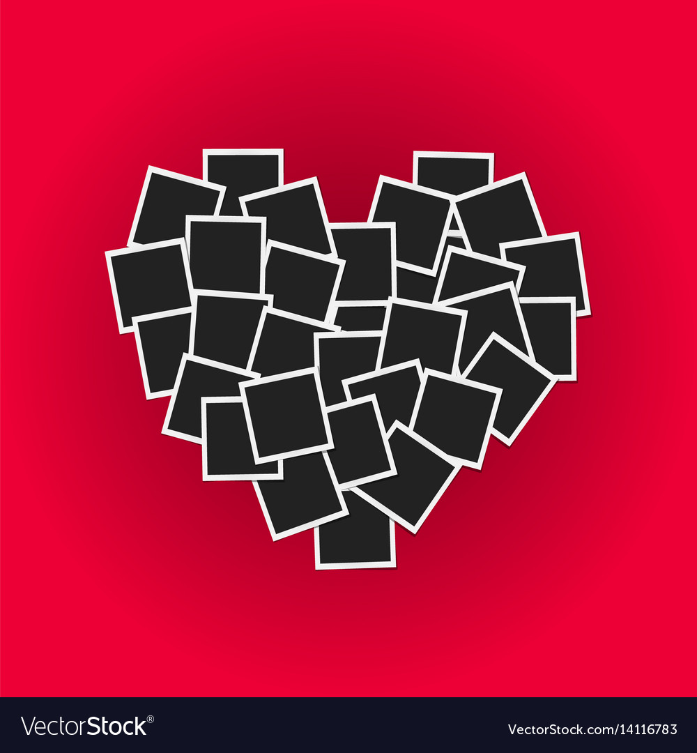 Heart concept made with photo frames on pink vector image