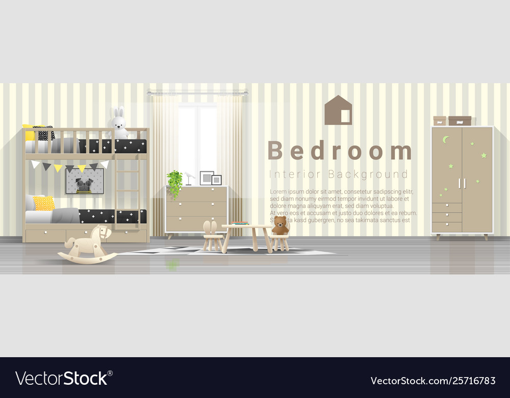 Modern kids bedroom with wooden bunk bed