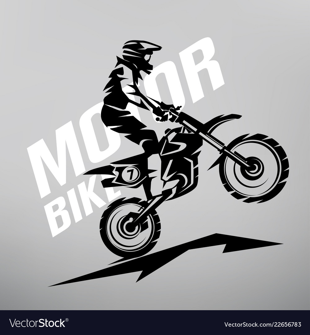 Motocross stylized symbol design elements for