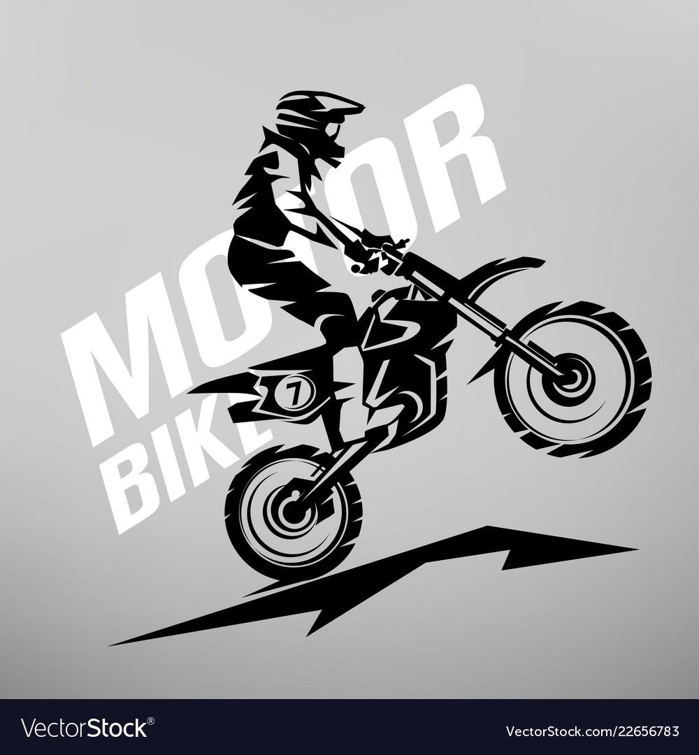Motocross stylized symbol design elements