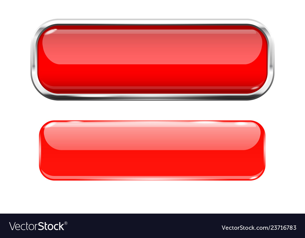 Red glass buttons web 3d shiny rectangle icons