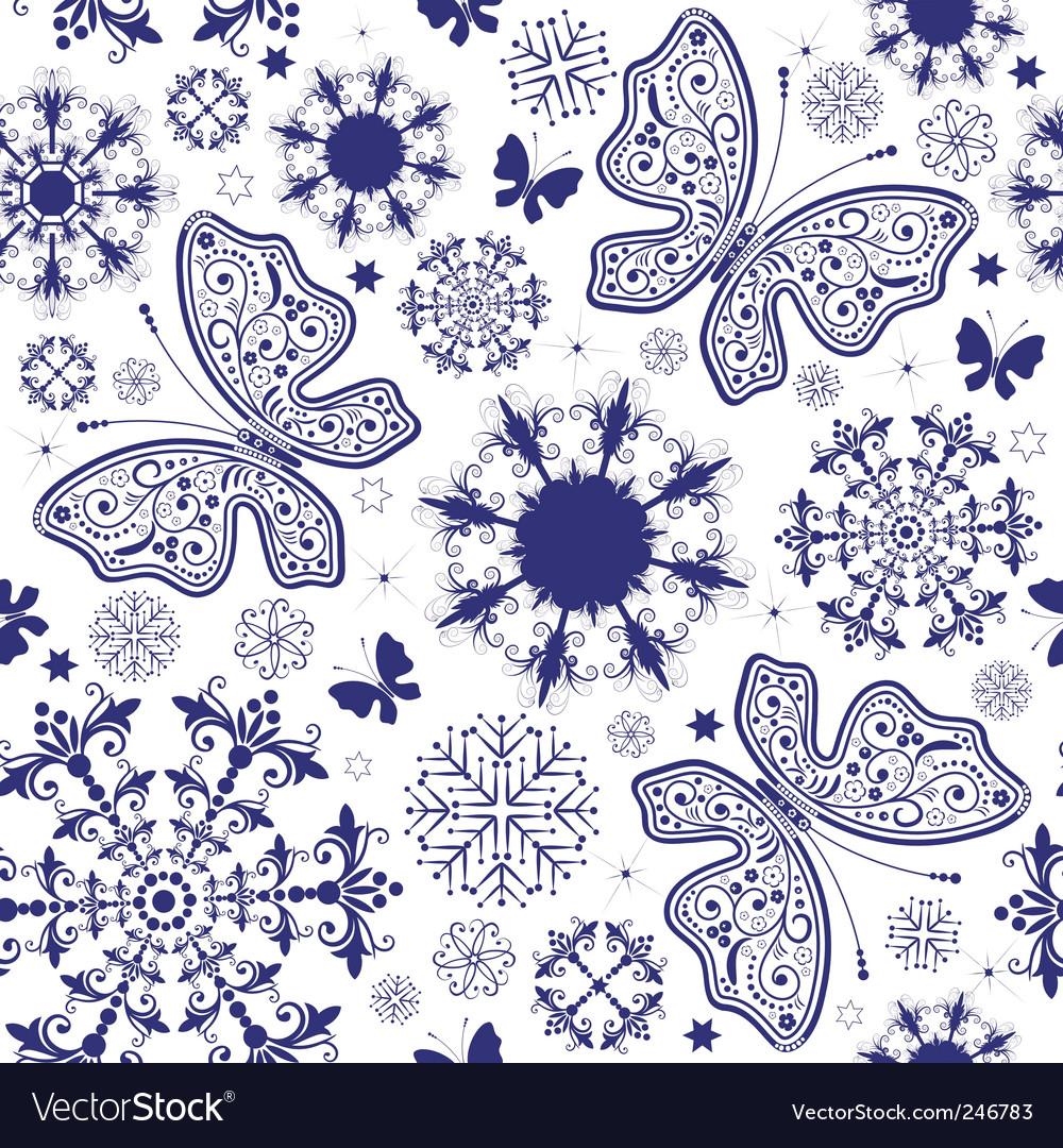 Seamless white violet Christmas wallpaper vector image