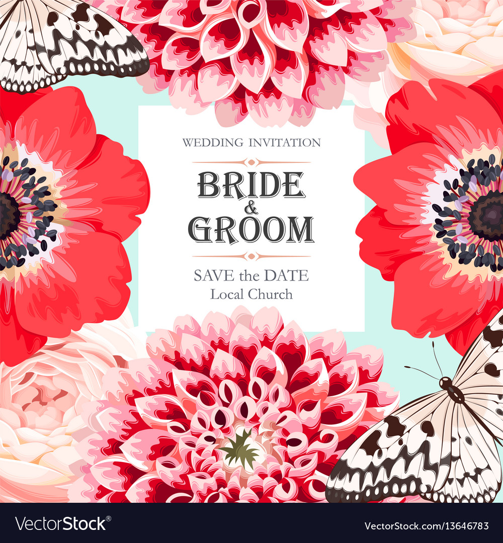 Wedding invitation with flowers Royalty Free Vector Image