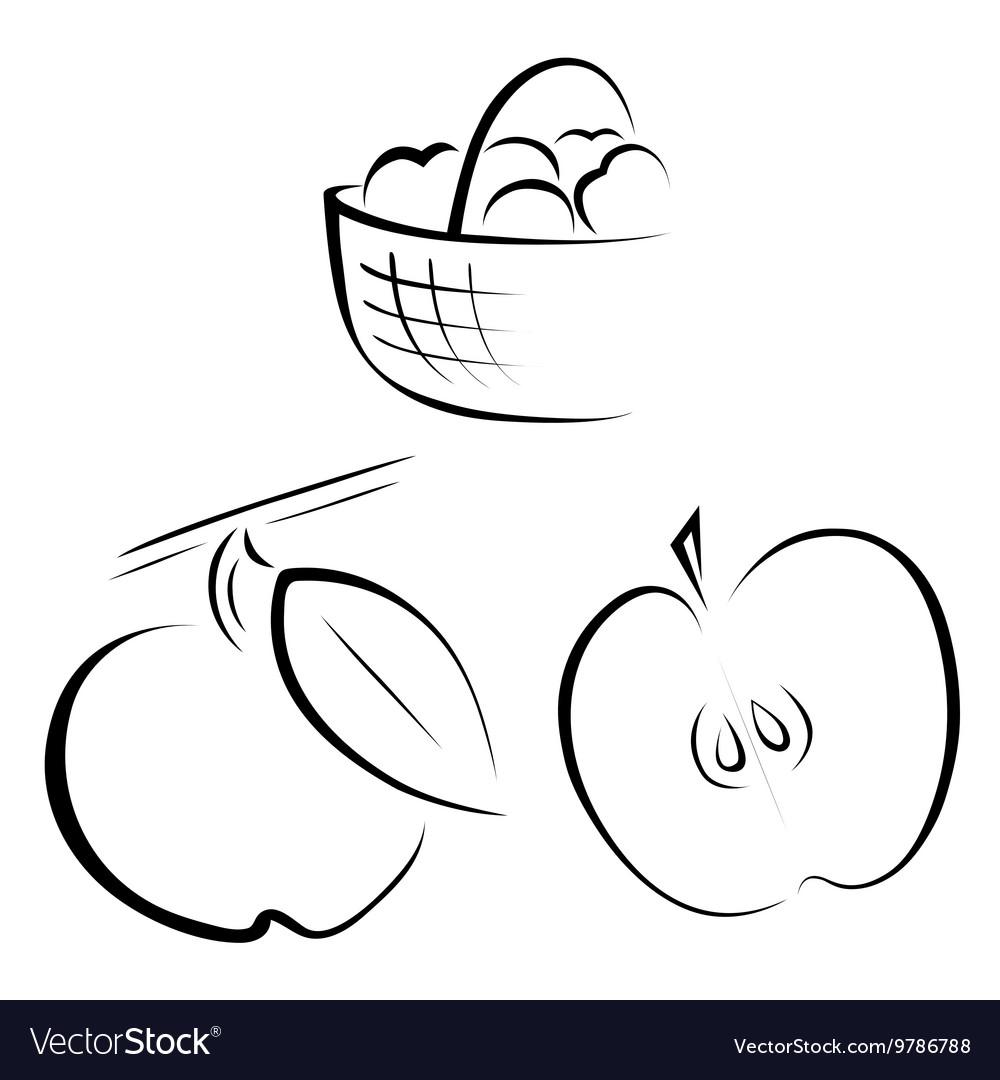 A set of logos depicting apples