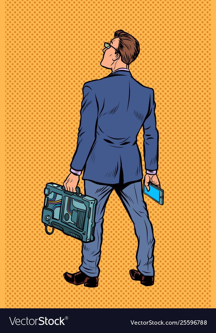 Businessman with briefcase and phone