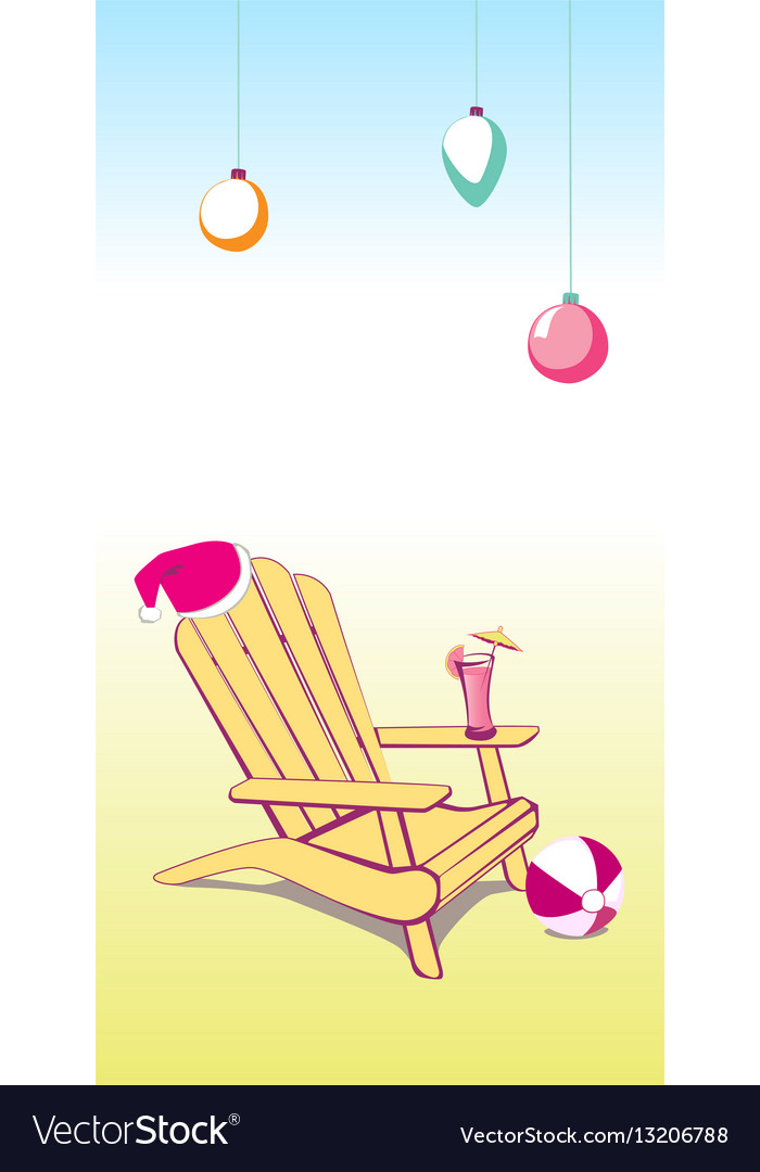 Christmas summer beach chair vector image