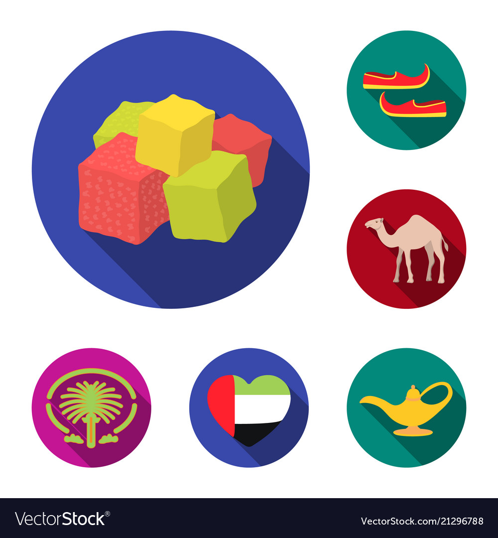 Country United Arab Emirates Flat Icons In Set Vector Image