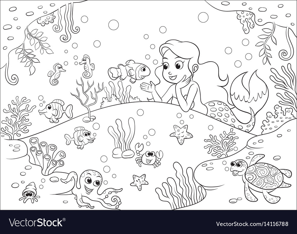 Cute cartoon mermaid underwater world for