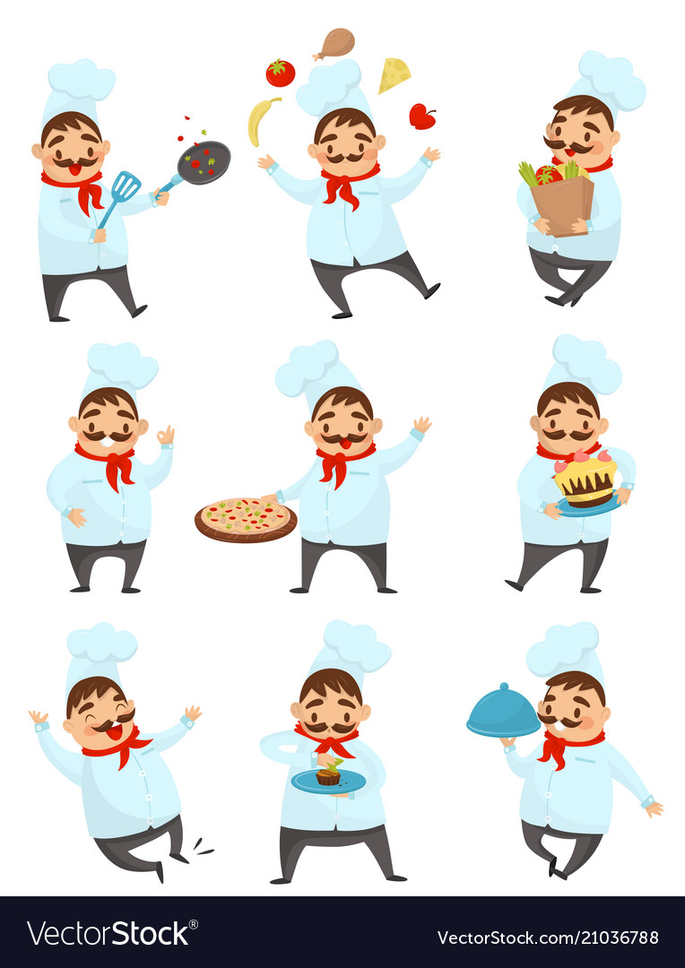 Flat set with funny chef in different