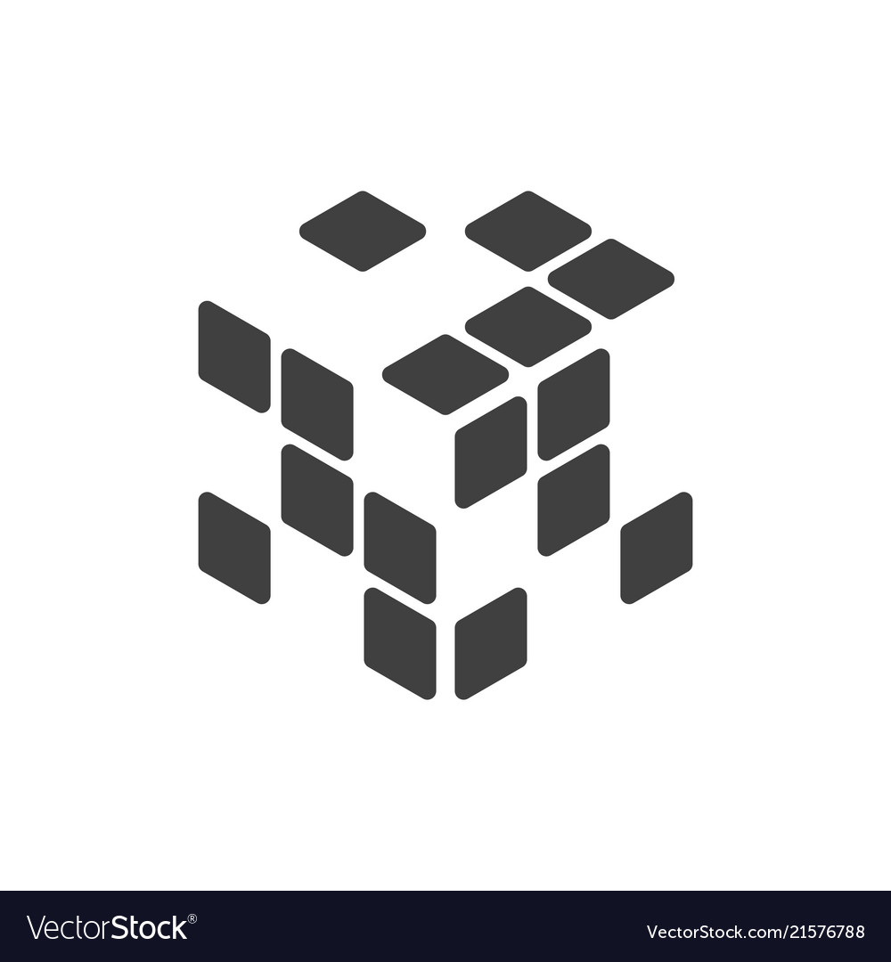 logo of the rubik cube with empty cells royalty free vector