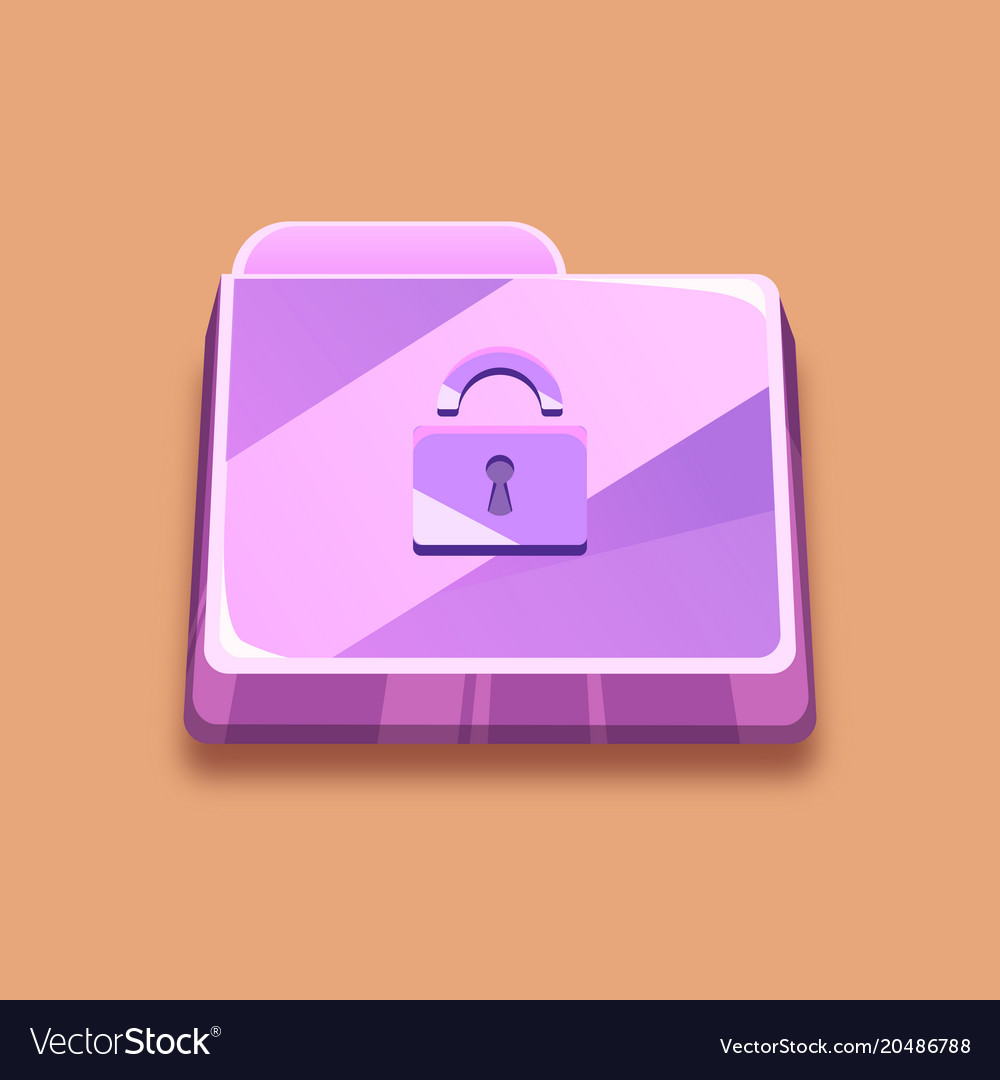Purple folder with a lock an antivirus icon