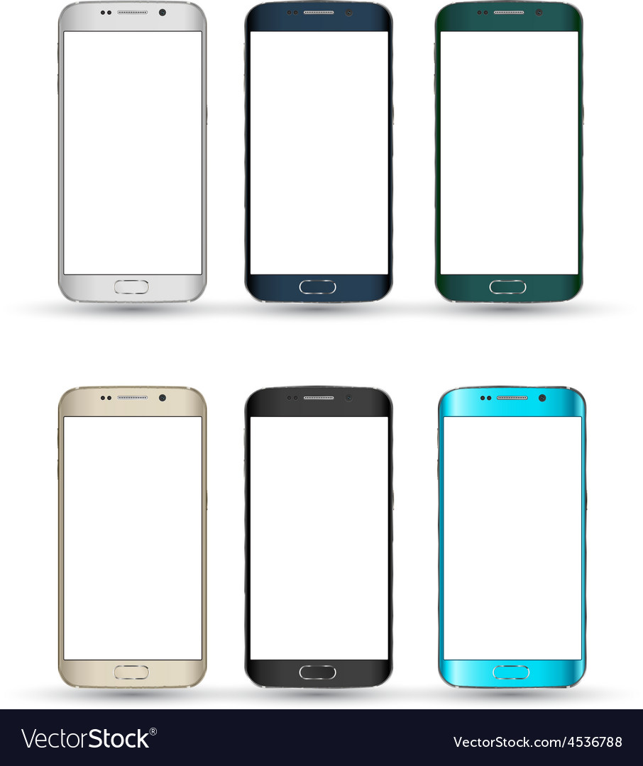 Realistic Smartphones set Isolated mobile phone