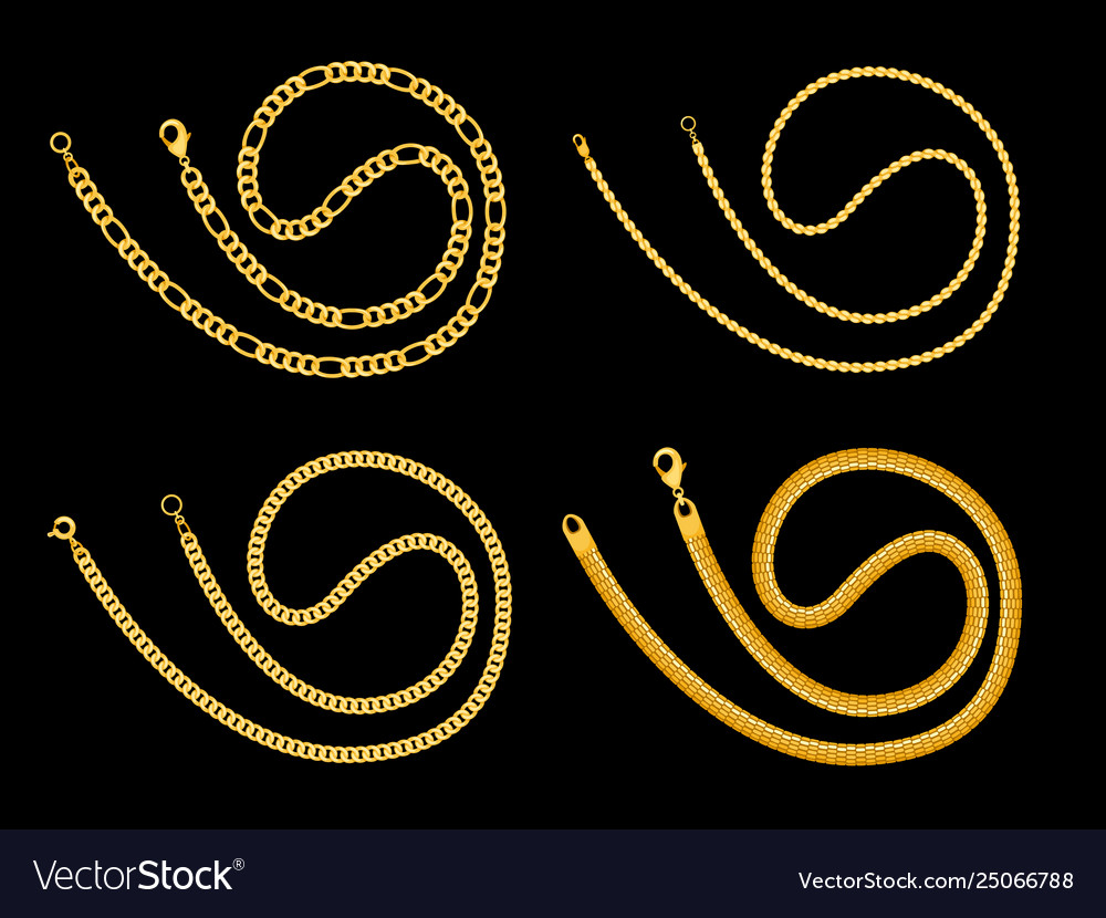 Rolled gold chain collection isolated on black