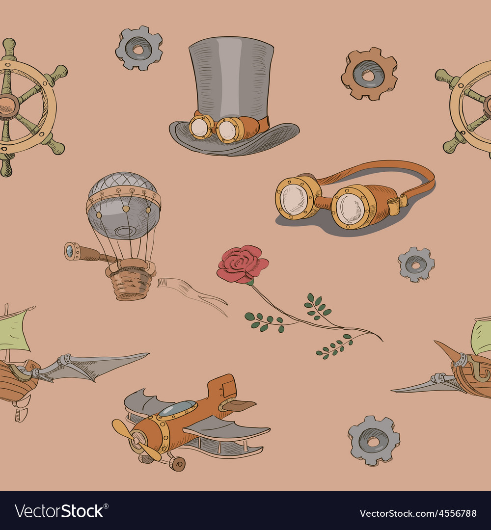 Seamless pattern Steampunk with steampunk top hat