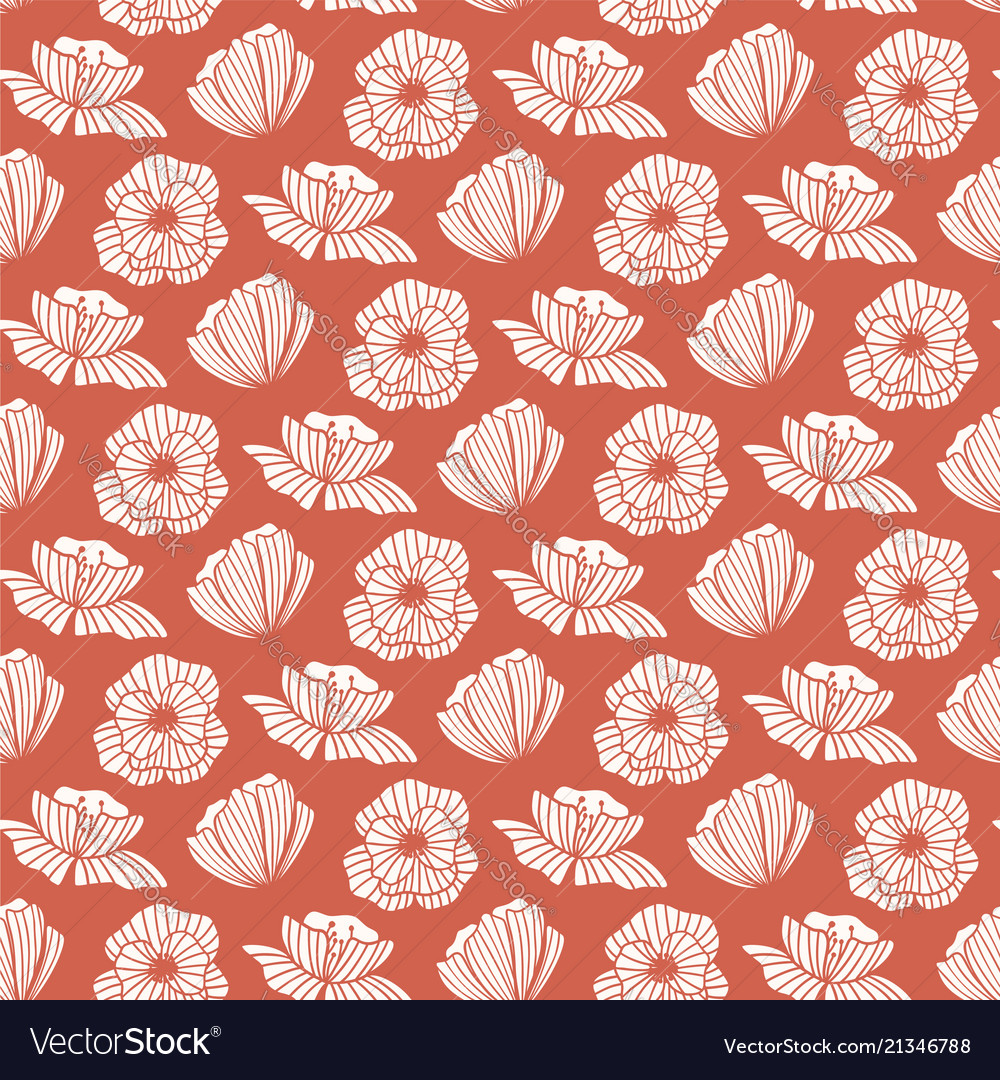 Seamless pattern with poppy flower floral