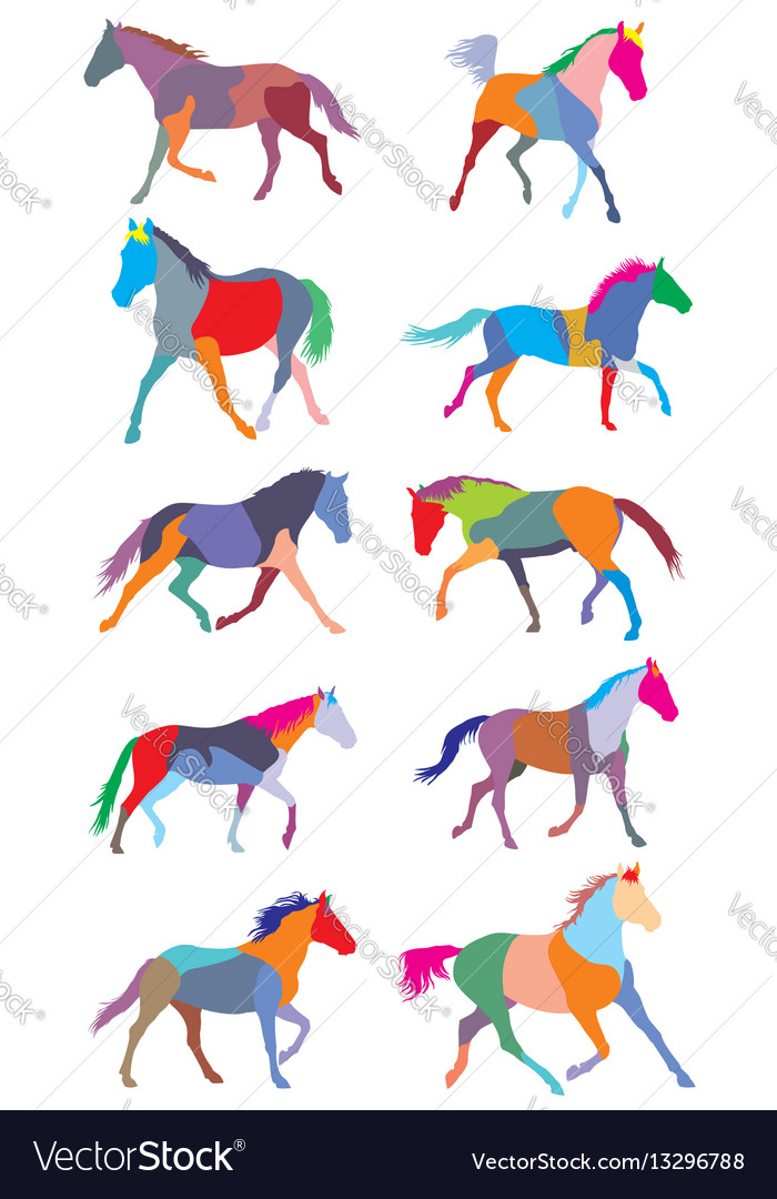 Set of colorful trotting horses silouettes