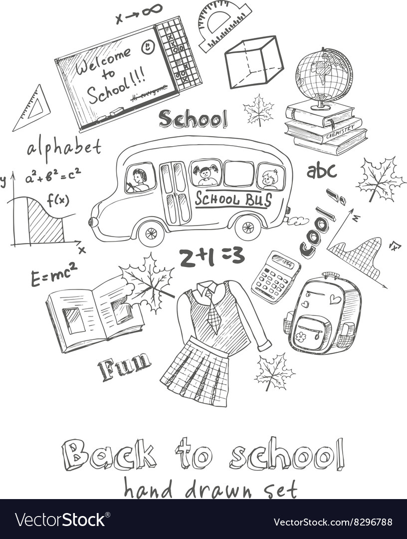 Set of school drawings Sketches Hand-drawing