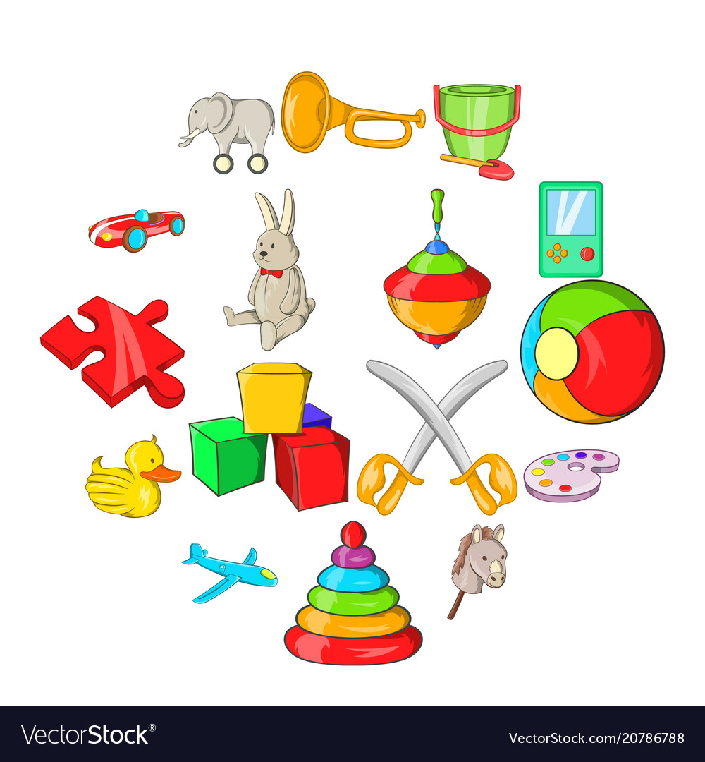 Toys icons set cartoon style
