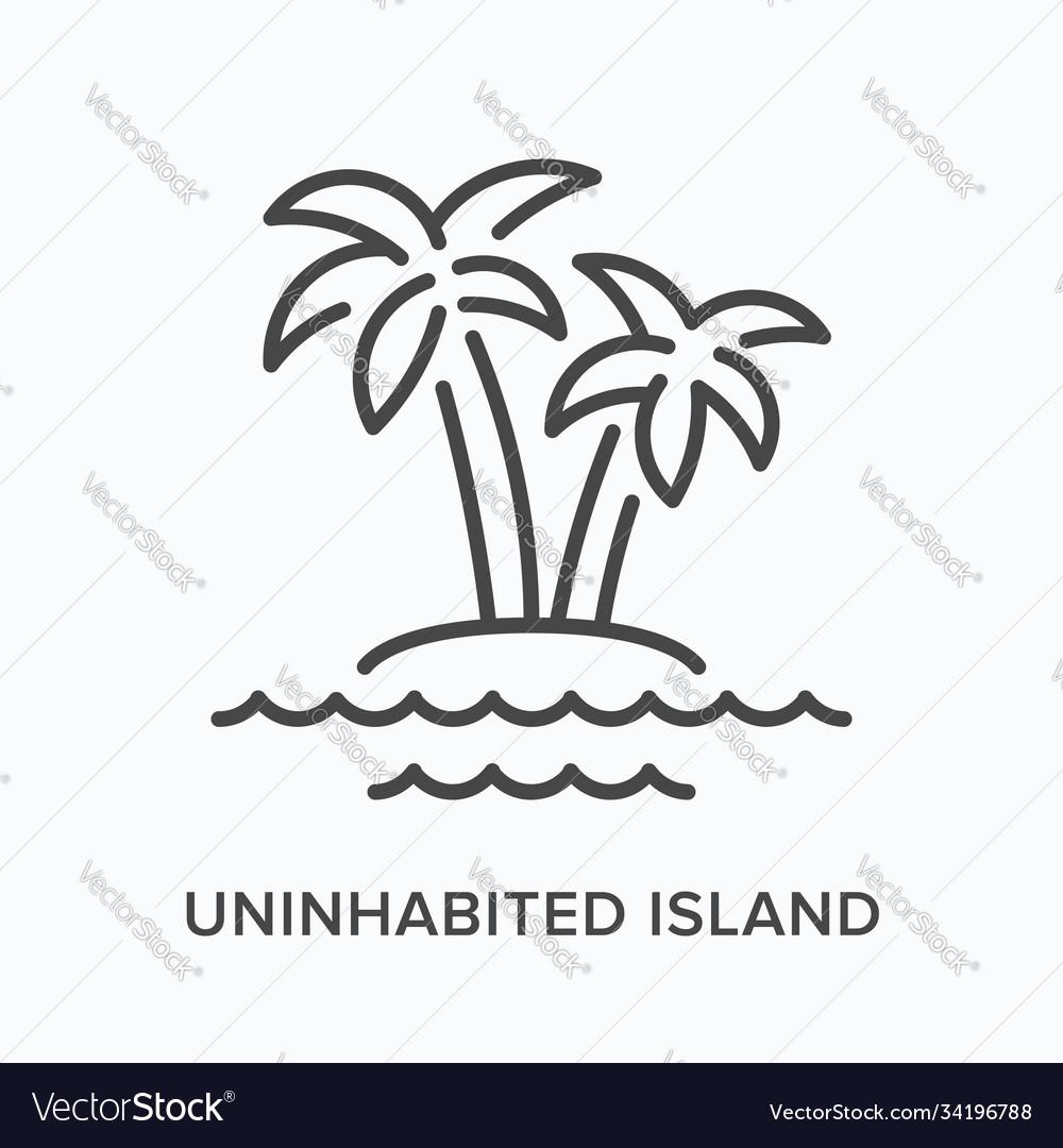 Uninhabited island flat line icon outline