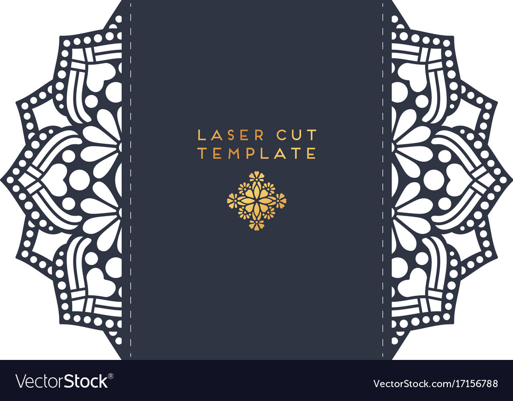 Wedding card laser cut template vintage Royalty Free Vector