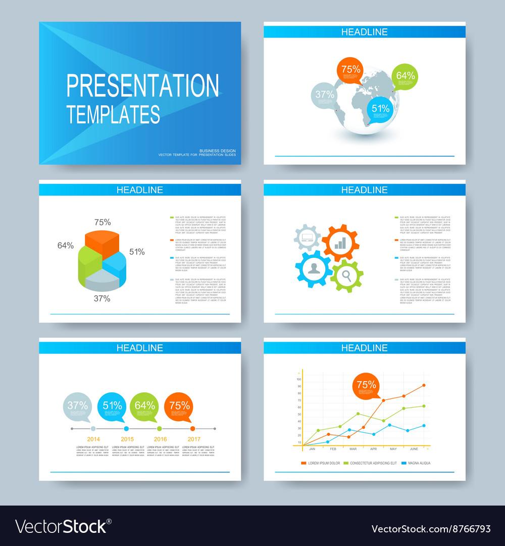 Blue set of templates for multipurpose