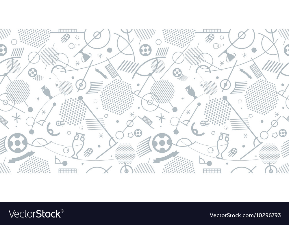 Different football silhouettes seamless background vector image