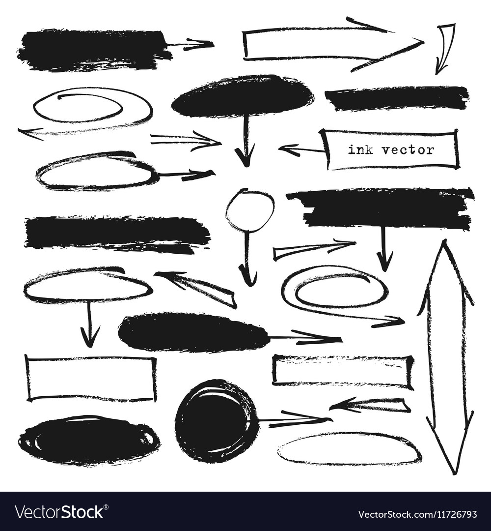 Ink arrows frames set vector image