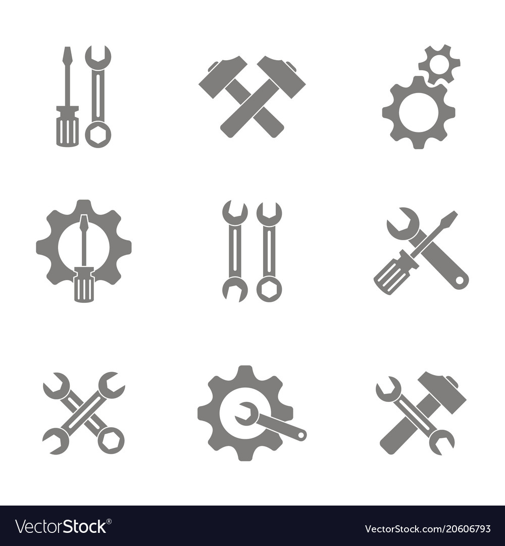 Monochrome set with repair icons vector image