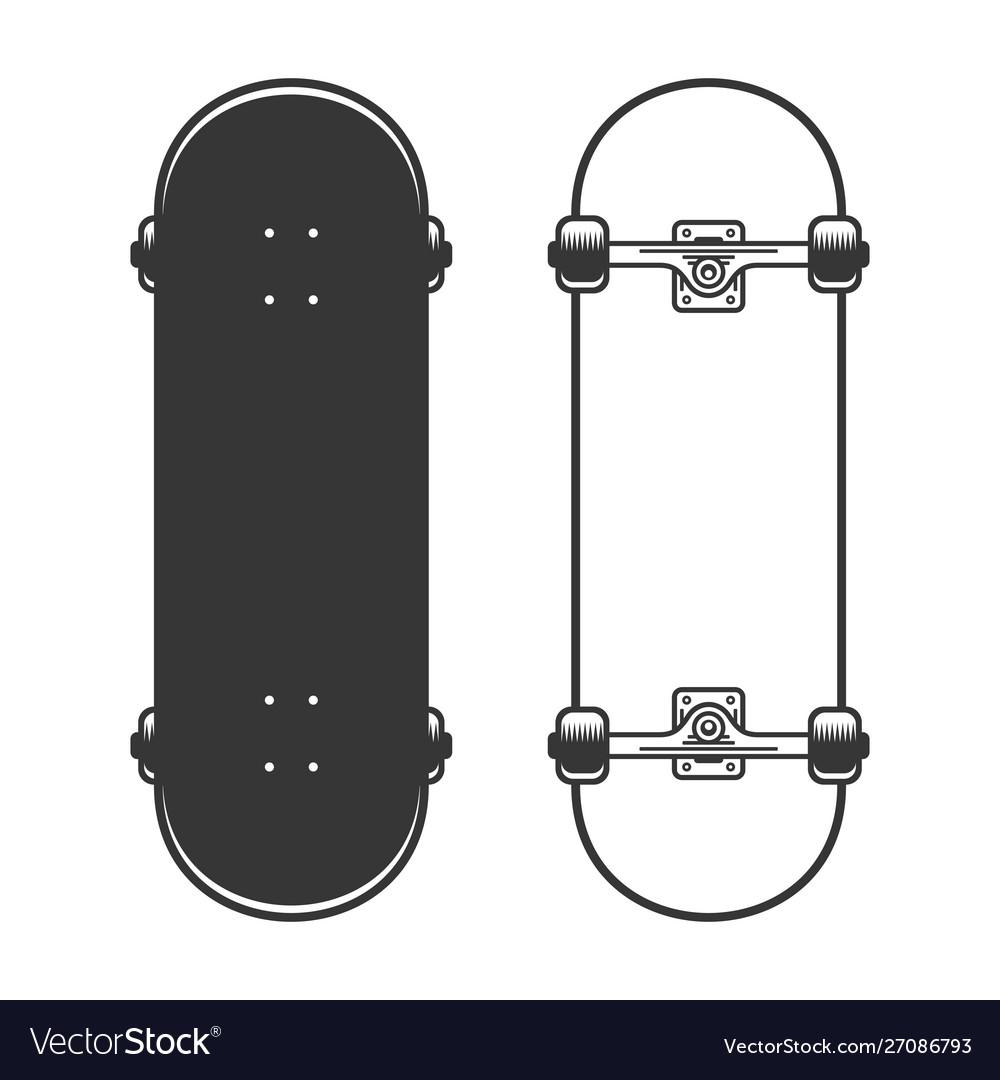 Old skateboards set on white background