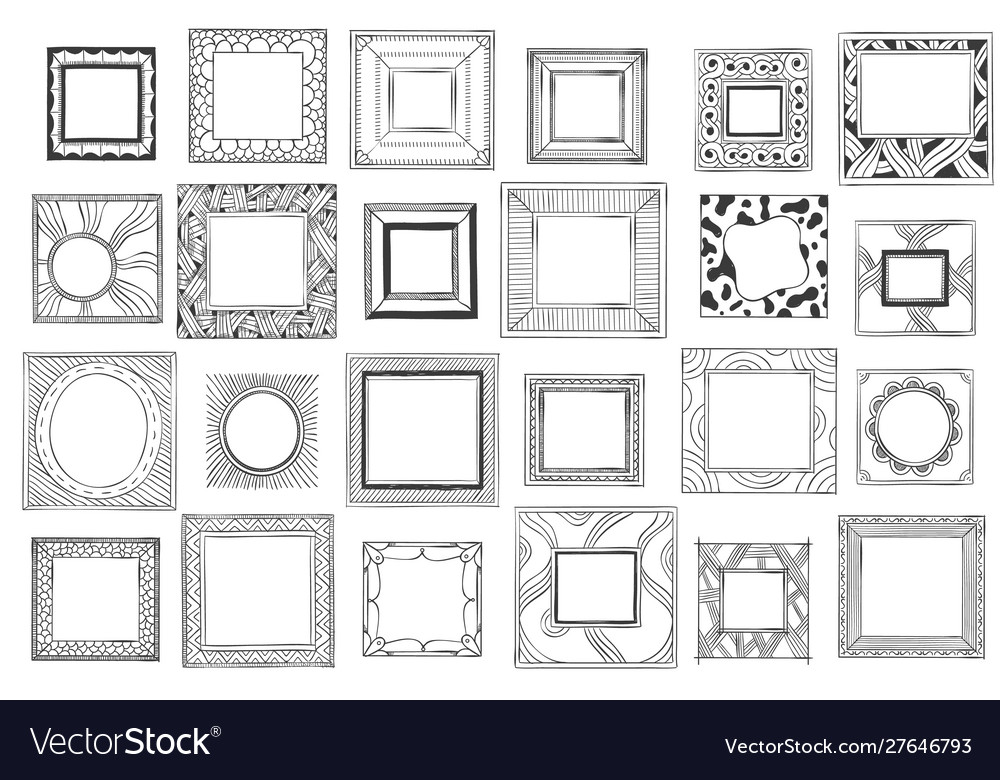 Square hand drawn frames sketch picture doodle