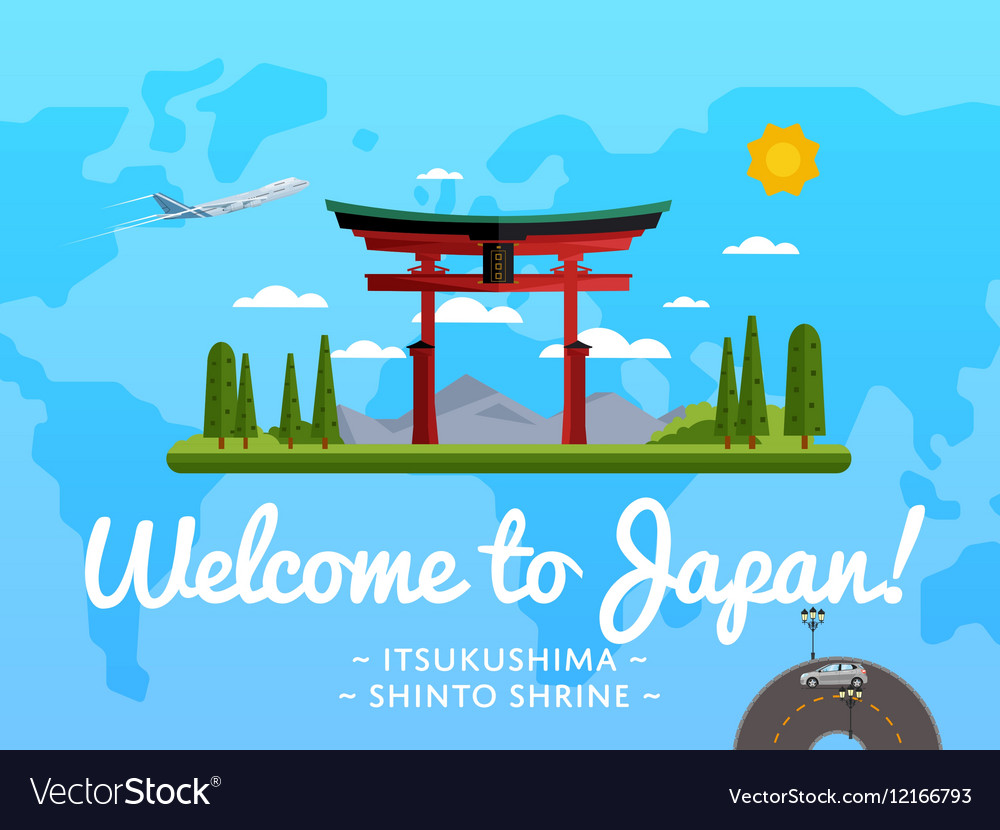 Welcome to japan poster with famous attraction