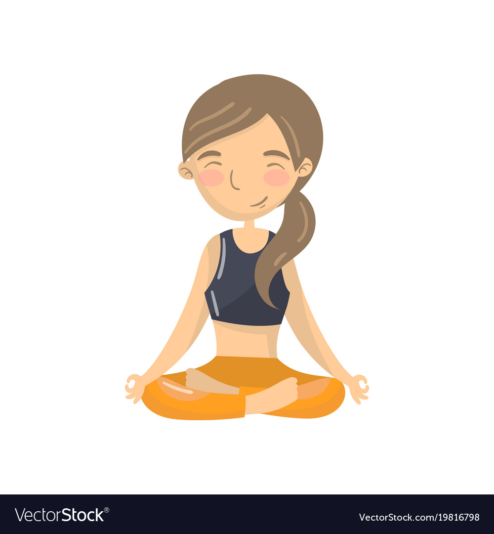 Beautiful young woman sitting in lotus position