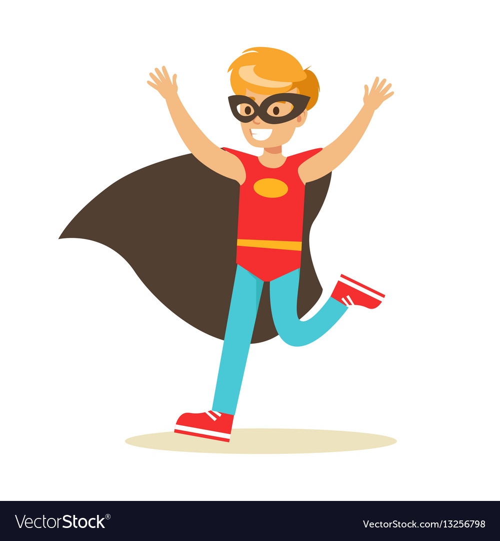 Boy pretending to have super powers dressed in red vector image