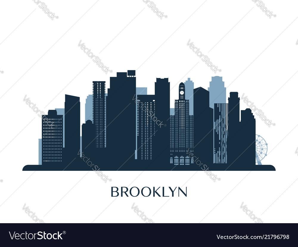Brooklyn skyline monochrome silhouette