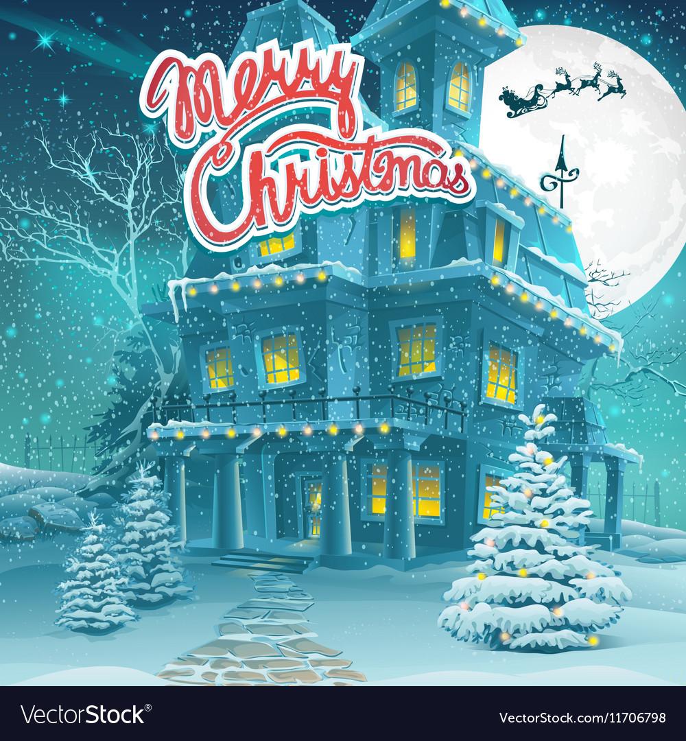 Cartoon Merry Christmas vector image